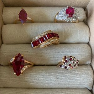 Vintage costume ruby rings